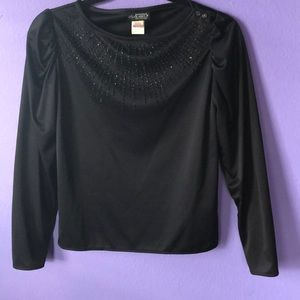 90s vintage Black Pullover Blouse